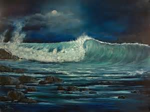 Beach Duvet Night Wave Painting By Dee Carpenter