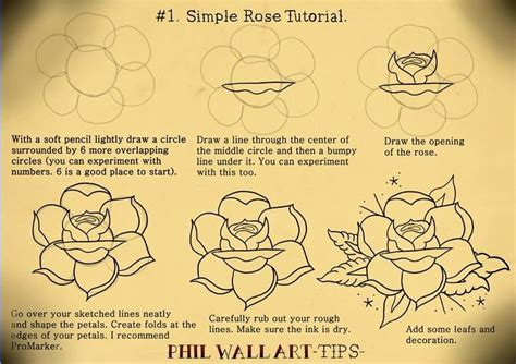 rose tattoo tutorial drawing an school rockabilly graphics
