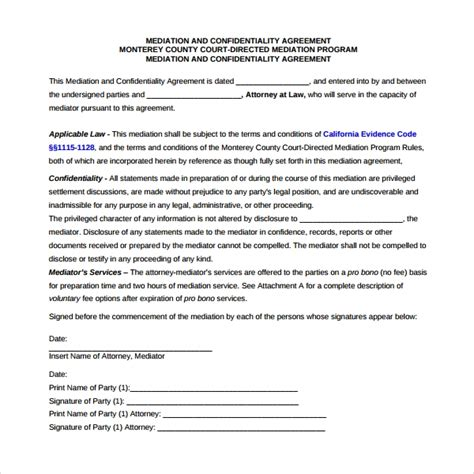 7 Mediation Agreement Templates Sle Templates Agreement To Mediate Template