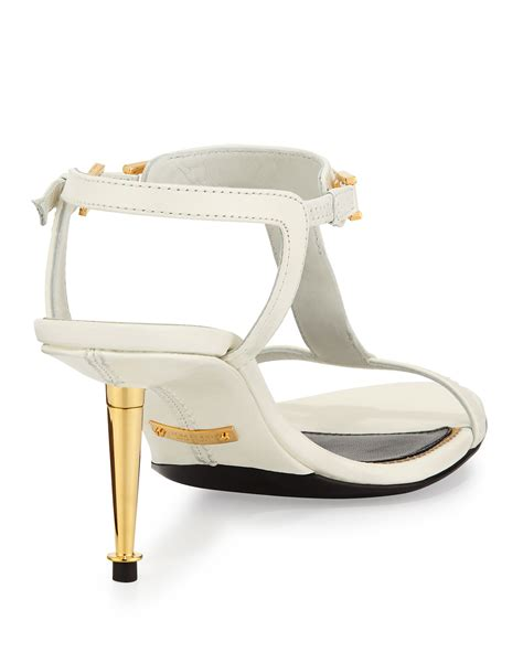 tom ford leather t bar sandal in white lyst