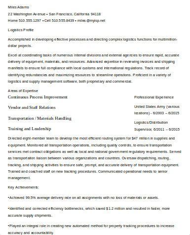 sle logistics resume 9 exles in word pdf