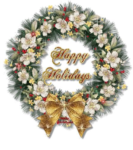 funny animated christmas wreaths happy holidays flowers wreath with golden glitter fastival greetings hd