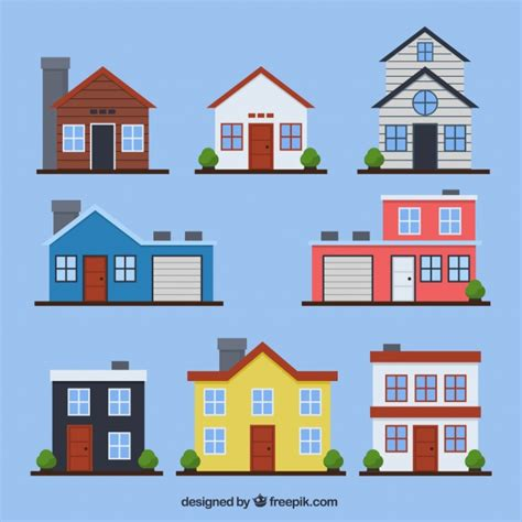set of houses facades in flat design vector free