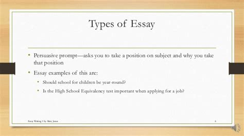 How To Write Different Types Of Essays by 6 Types Of Essay Writing