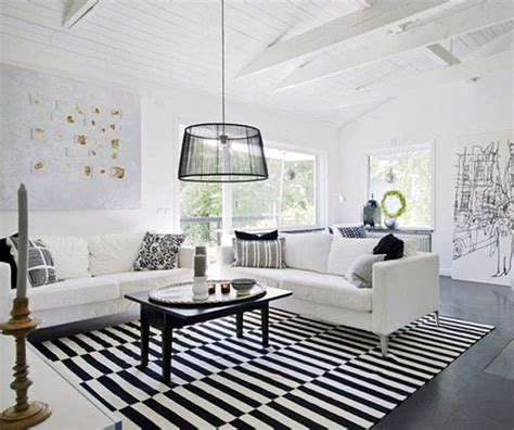 black and white living area interior design and home decor
