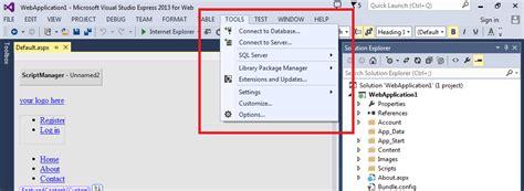 design menu in visual studio asp net i can t find generate local resource from tools
