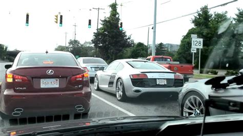 supercharged lexus isf supercharged audi r8 lexus isf driving on highway
