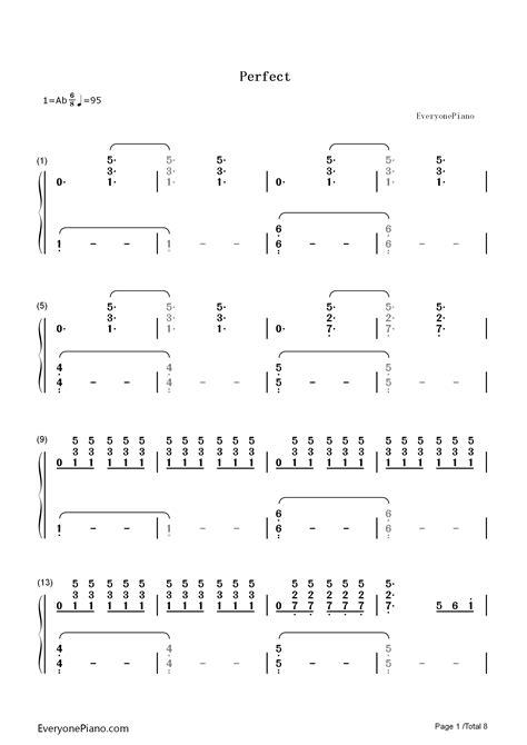 ed sheeran perfect japanese perfect ed sheeran numbered musical notation preview 1