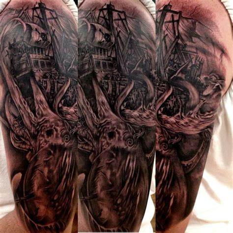 monster tattoos black and grey sea tattoos