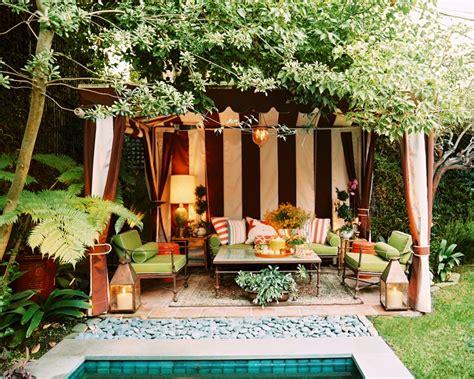 Cabana Backyard by Poolside Striped Cabana Interior Design Ideas