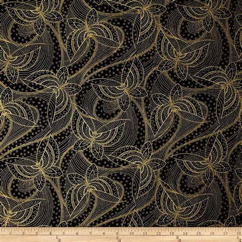 designer fabric butterfly fandango metallic gold outline butterfly black
