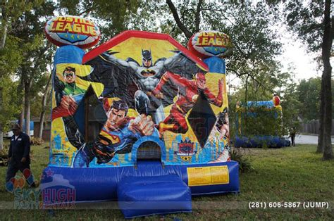 superhero house justice league superhero bouncer sky high party rentals