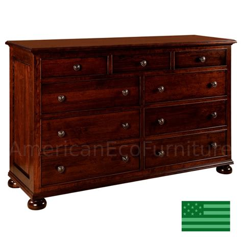 Solid Wood Bedroom Dressers Amish Rosemead 9 Drawer Dresser Solid Wood Made In Usa American Eco Furniture