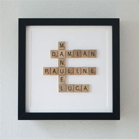 scrabble gift framed scrabble family tree 5th year anniversary gift wooden