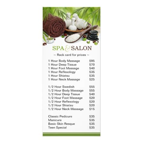 spa menu card template promotional spa salon service menu zazzle