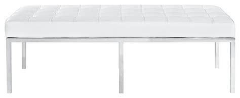 white leather bench seat mid century classic three seat bench white leather stainless steel contemporary