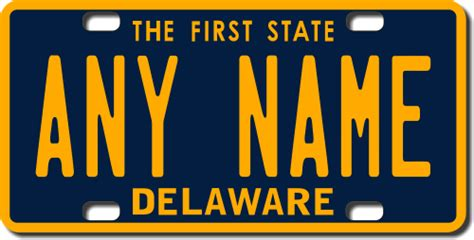 De Vanity Plates by Delaware Replica State License Plate For Bikes Bicycles Atvs Cart Walkers Motorcycles