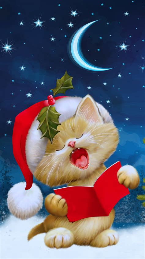 wallpaper of christmas for mobile christmas cat card
