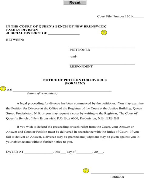 Divorce Notice Letter Free New Brunswick Notice Of Petition For Divorce Form For Pdf