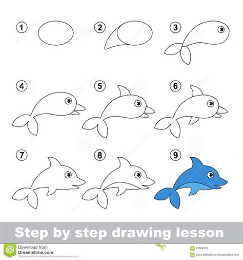 how to make doodle drawing tutorial how to draw a dolphin stock vector