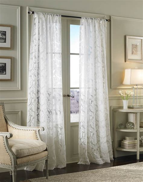 white lace curtain panels damask lace white pole top window curtain panel larg my