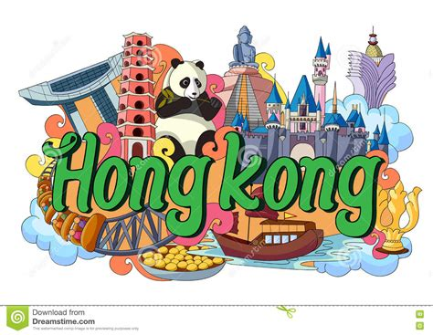 doodle 4 hong kong doodle showing architecture and culture of hong kong stock