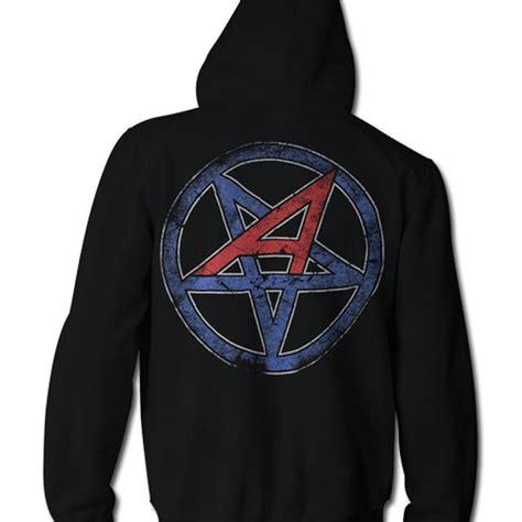 Hoodie Anthrax Worship Metal High Quality anthrax vertical flag zip hoodie with earbuds