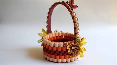 How To Make Paper Flower Basket - quilled basket part 1 paper basket quilling basket