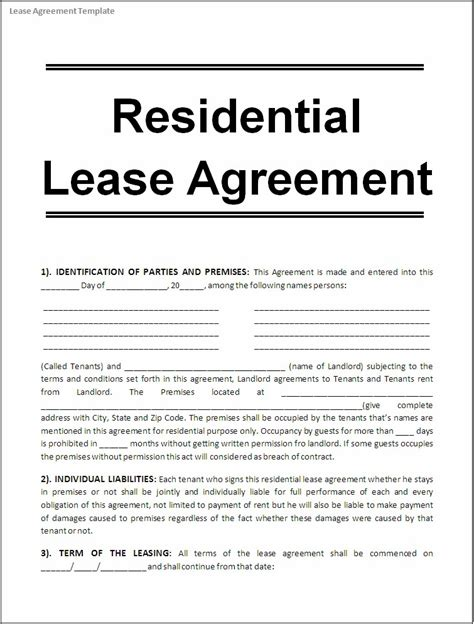 free lease agreement template no credit card lease agreement template word excel formats