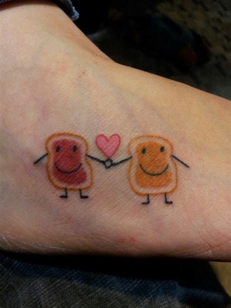 sister tattoo on foot peanut butter and jelly love it