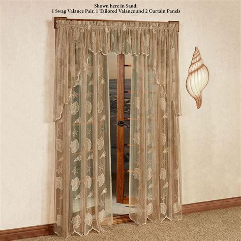 seashell lace curtains seashells lace window treatment