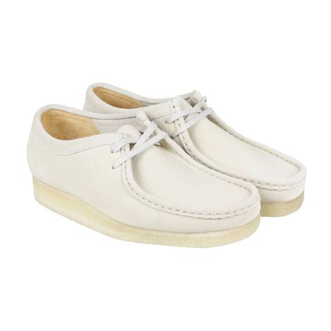 clarks wallabee mens white suede casual dress lace up