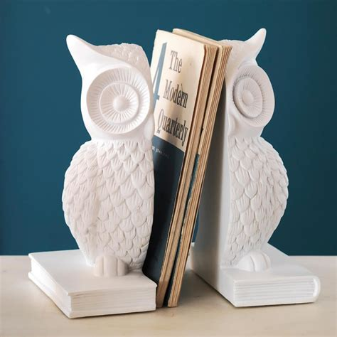 owl bookends white owl bookends