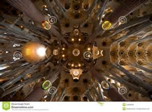 sagrada familia ceiling editorial stock photo image