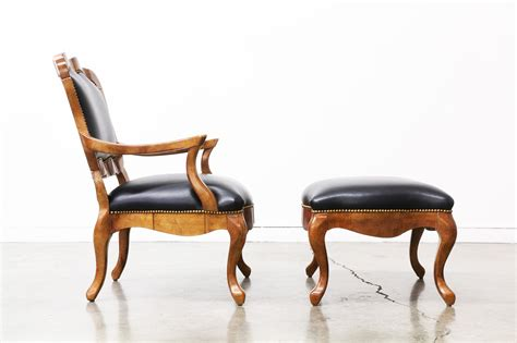 wood and leather chair with ottoman vintage regency style burl wood leather chair with