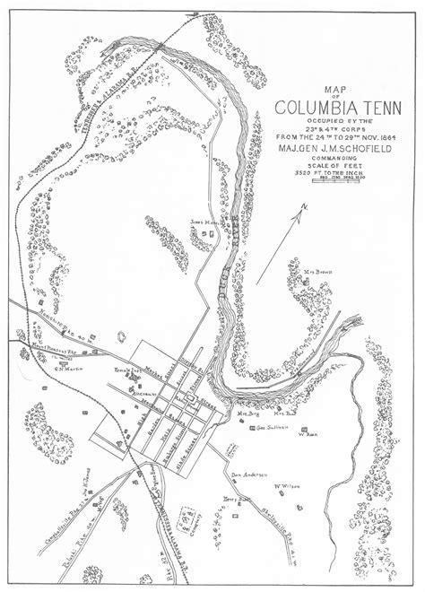 Map of Columbia, TN, 1864 | American civil war