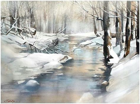 watercolor tutorial winter watercolor landscape forest stream winter snow by thomas
