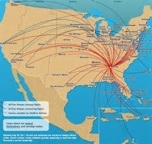 us map airport hubs airtran airways to drop five airports on june 2 world