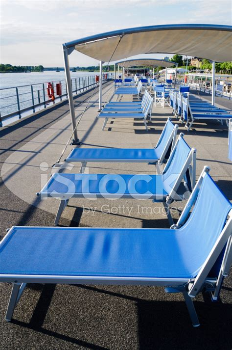 boat lounge chairs lounge chairs on cruise boat deck stock photos