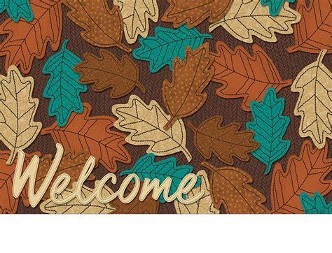 Indoor & Outdoor Welcome Fall Leaves Insert Doormat   18x30