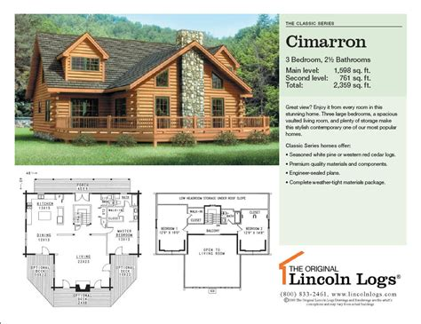 lincoln log homes floor plans log home floorplan cimarron the original lincoln logs
