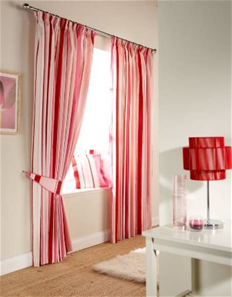 red and pink curtains lined ready made pencil pleat curtains with tie backs