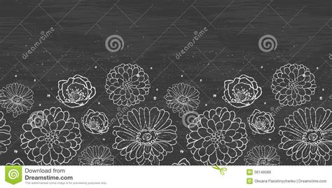 blackboard pattern chalk flowers blackboard horizontal border royalty free