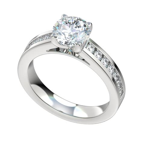 cathedral style engagement ring with 0 42ct channel set