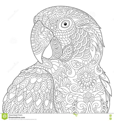 anti stress colouring book for adults australia zentangle stylized macaw stock vector image 78280944
