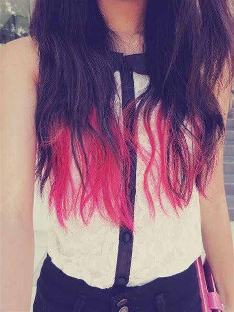 fur dye dip dyed hair pink dip dye hair