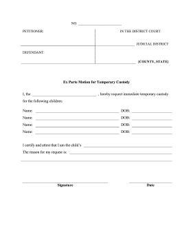 Printable Ex Parte Temporary Custody Legal Pleading Template Template For Temporary Child Custody