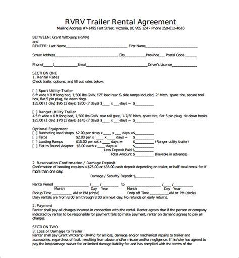 11 Trailer Rental Agreement Templates Pdf Sle Templates Trailer Lease Agreement Template