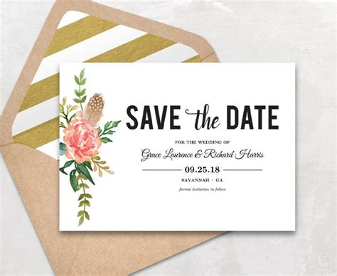 Save The Date Wedding Cards Template Free by Save The Date Template Floral Save The Date Card Boho