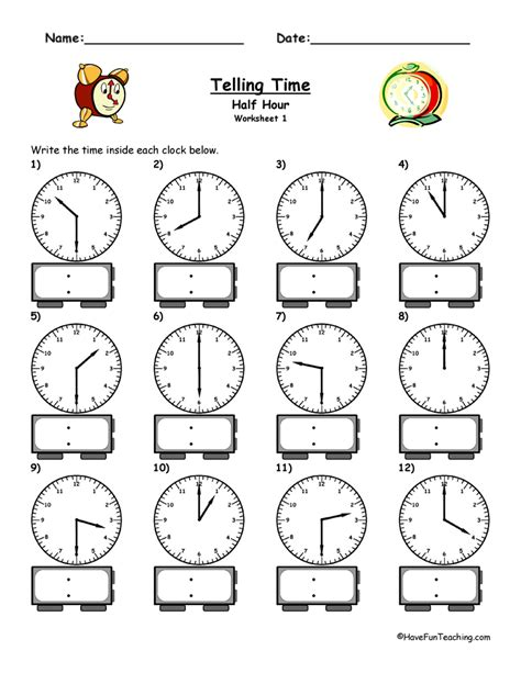 clock worksheets hour and half hour telling time worksheet to the half hour have fun teaching